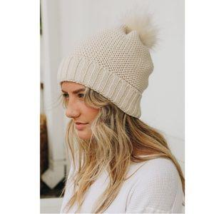 Sherpa Pom Beanie Knit Lined Warm Cozy Winter Hat